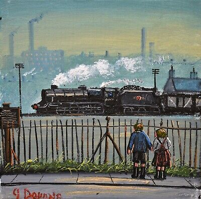 Charming James Downie Original Oil Painting - Young Love / Railway Children