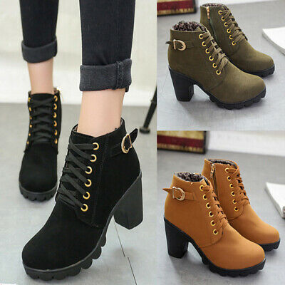 Girl High Top Heel Lace Up Buckle Ankle Boots Winter Pumps Suede Shoes UK