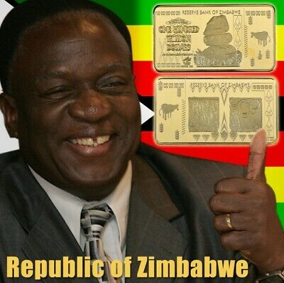 100 Trillion Dollar Zimbabwe Gold Bar Bank Note Money African Bullion LOL Joke