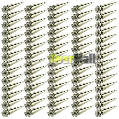 100Pcs 26mm Silver Spots Cone Screw Metal Studs Leathercraft Rivet Bullet Spikes