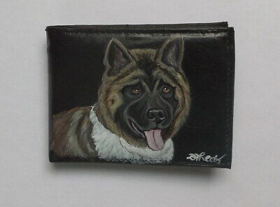 American Akita Dog Hand Painted Leather Wallet for Men