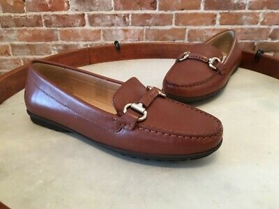 e4419bf5ca2d5 GEOX BROWN LEATHER Elidia Horsebit Detail Moccasin Loafers 7 37 NEW