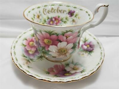 Royal Albert Flower of the Month Series OCTOBER Cosmos Tea Cup & Saucer