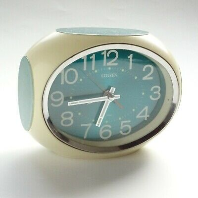 CITIZEN SPACE AGE 1970s alarm clock Green analog winding non-battery‐operated