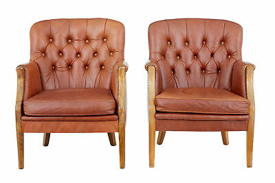 Pair Of Mid 20Th Century Elm And Leather Armchairs