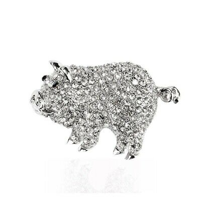 Cute Rhinestone Alloy Crystal Pig Brooches Women Kids Scarf Pins Jewelry Party
