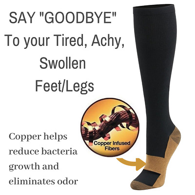 US STOCK Copper Compression Socks 20-30mmHg Graduated Support Mens Womens S-XXL