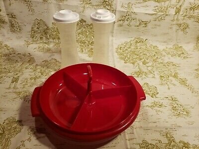 Vintage Tupperware Condiment Salt Pepper Ketchup Relish Set Lot EUC