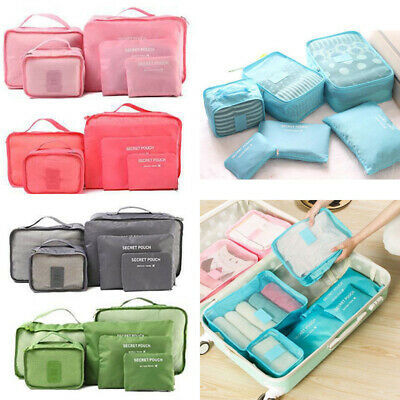 Travel Storage Bag Set for Clothes Luggage Packing Cube Organizer Suitcase 6Pcs