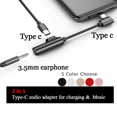 2 in 1 Type C to 3.5mm Charger Audio Adapter Headphone Jack USB C Cable Adapters