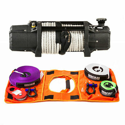 Domin8r Xtreme 12,00lb Winch + Hercules Nylon Recovery Kit (Snatch, Shackles))