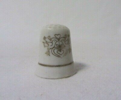 Vintage Japan Hand Painted Gold & White Love Birds & Hearts Gold Trim Thimble