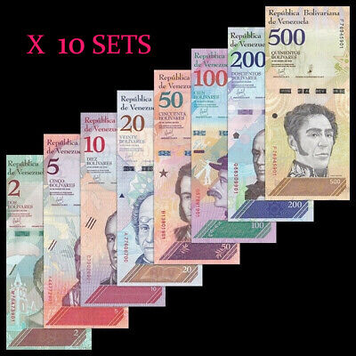 Lot 10 X Sets 8 pcs, Venezuela 2 - 500 Bolivares Soberanos, 2018, P-New , UNC