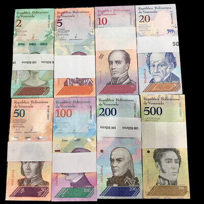 Lot 100 X Set 8 pcs,Venezuela 2-500 Bolivares Soberanos, 2018, P-New, UNC