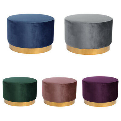 Large Round Stool Side Table Retro Velvet Fabric Upholstered Ottoman Footstool