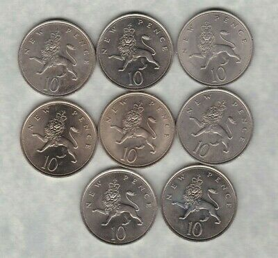 1971 To 1980 Large Old Ten Pence Coins In A Date Run Of 8 Coins In Near Mint