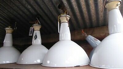Vintage White Enamel Industrial Factory Light Shade Lamp Adjustable Mount