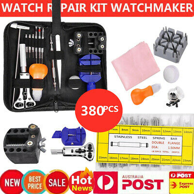 380PCS Watch Repair Tool Set Back Case Opener Remover Spring Pin Bars Watchmaker