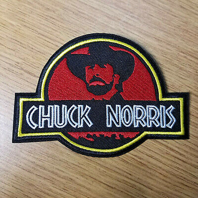 Chuck Norris/ Jurassic Park patch 4 3/4 inches patch