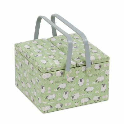 Sheep Twin Lidded Sewing Box | 25 x 25 x 17cm | HobbyGift MRLTLE-438