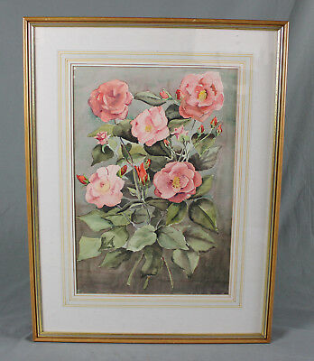 G G Read Watercolour Painting Large Floral Still Life Pink Roses