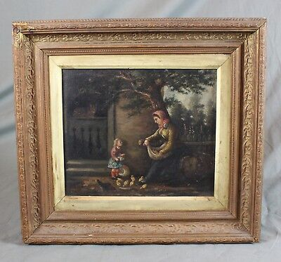 Oil Painting Mother and Child Feeding Chicks Figural 19th Century Country