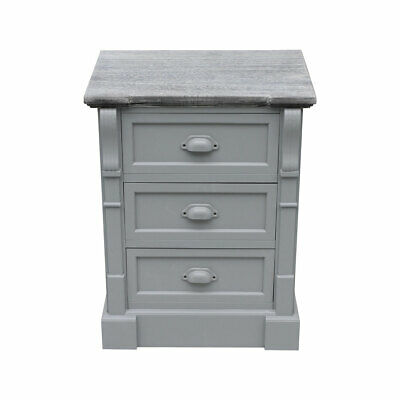 Charles Bentley Shabby Chic 3 Drawer Bedside Table in Grey Made of MDF
