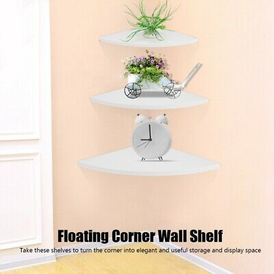 3 Tier Floating Wall Shelves Corner Shelf Storage Display Bookcase