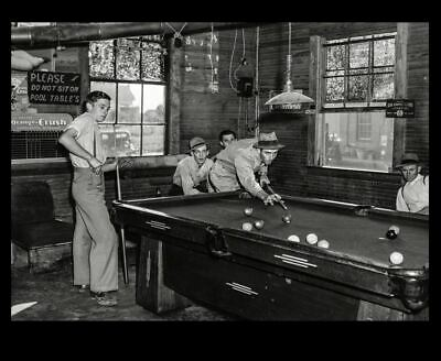 1940 Pool Hall PHOTO Billiards Great Depression General Store Vintage View