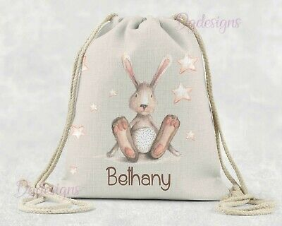 Personalised  Bag* PE*Gym*Dance * baby nappy *gift drawstring bag * * Pink Bunny