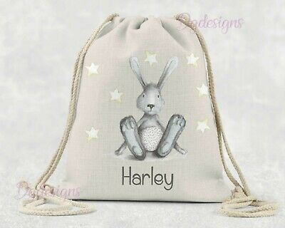 Personalised  Bag* PE*Gym*Dance * baby nappy *gift drawstring bag * * Blue Bunny
