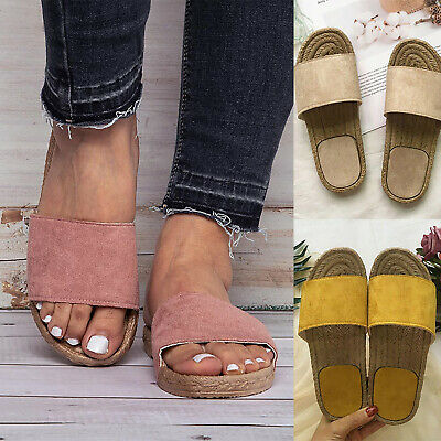 Womens Ladies Slip On Sandals Mule Summer Espadrille Slippers Casual Shoes Size