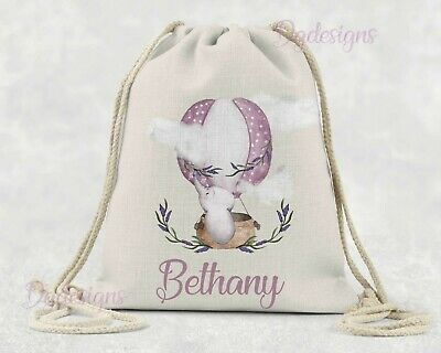 Personalised Bag*PE*Gym*Dance*baby nappy*gift drawstring bag *Pink Balloon Nelly