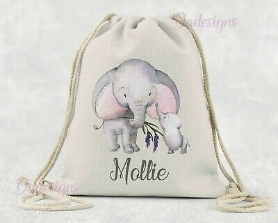 Personalised*PE*Gym*Dance*baby nappy*gift drawstring bag *Mum*Baby Elephant pink