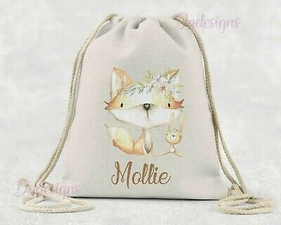 Personalised*PE*Gym*Dance*baby nappy*gift drawstring bag *woodland fox & bunny