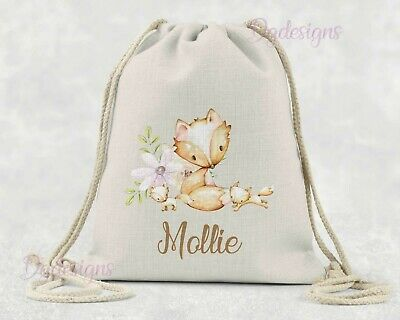 Personalised*PE*Gym*Dance*baby nappy*gift drawstring bag *woodland fox & cubs