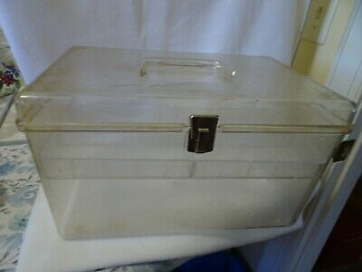 Vintage Wilson Wil-Hold Large Clear Plastic Sewing Thread Storage Box USA-Tray
