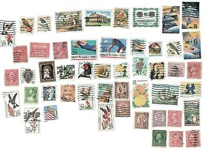 Lot #772  -  50 Different US Vintage Used Postage Stamps from Old Collection