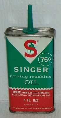 Vintage Singer Sewing Machine Handy Oiler 4 FL. OZS Tin Oil Can Antique 75 Cents