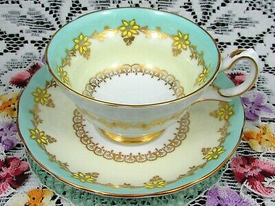 Grosvenor Yellow Beaded Floral Green Band Fancy Gold Tea Cup And Saucer