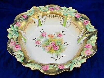 Rs Prussia Pink Roses Molded Floral Heavy Raised Gold Large Bowl