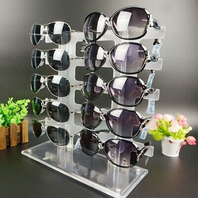 Two Row Sunglasses Rack 10 Pairs Glasses Holder Display Stand Frames Transparent