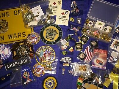 Mens Large Vintage Veterans, Red Cross Lapal Pin Lot + Religious Medals & More