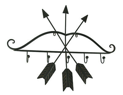 Rustic Brown Metal Bow and Arrows Wall Hook Sculpture