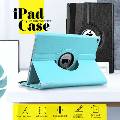 "For Apple iPad 6 5 4 3 Air mini 9.7"" 2019 360° Rotating Leather Smart Case Cover"