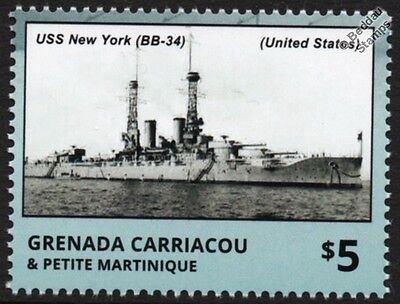 USS NEW YORK (BB-34) US Navy Battleship WWI & WWII Warship Stamp