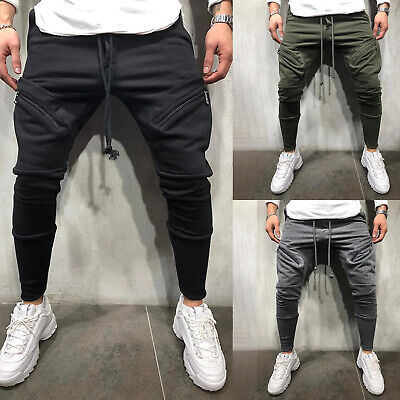 Mens Drawstring Slim Fit Casual Sweat Pants Sports Gym Skinny Trousers Joggers