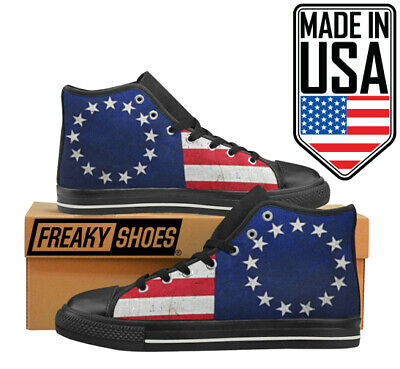 Made in USA Betsy Ross American Flag Patriotic Sneakers Men's Freaky Shoes