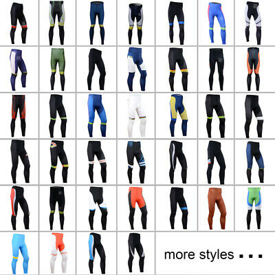 Team Men's Sports Bike Tights Cycling Riding 3D Padded Long Pants Bicycle Wear