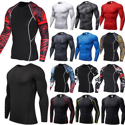 Men's Long Sleeve Base Layer Shirts Tops Compression Thermal Gym Sports T-Shirt